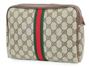 Auth Vintage GUCCI Brown Canvas and Leather Cosmetics Bag Clutch Pouch #38381