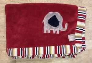 Trend Lab Baby Blanket Red Plush Grey Elephant Yellow Navy Stripe Lovey