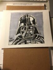 Darth Vader Artwork SKETCH-HAND PAINTED & SIGNED Tom palmer W/COA (8x9 Star Wars