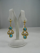 Alexis Bittar Elements Crystal Gold Turquoise Chandelier Earrings $225 NWT