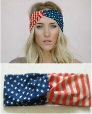 Women Cotton American Flag Stars Stripes Twist Headband Hippie Wide Hair Band