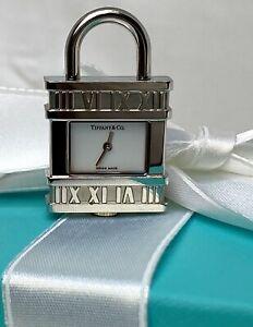 Tiffany & Co. Estate Swiss Stainless Steel Atlas Charm Watch Padlock Pendant