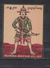 Ancienne  étiquette  de paquet  allumettes  Suède  AZ4022 Soldat 1 Burma