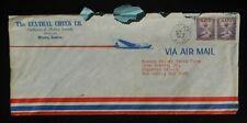 1952 Postal History Air Mail The Central Check Co Modern Records Plane Ottawa KS