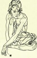 Squatting Woman by Austrian Egon Schiele. People Repro Choose Canvas or Paper