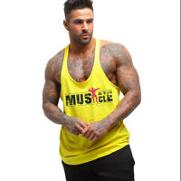 Men Gym Stringer Muscle Bodybuilding Casual Fitness Cotton Tank Top Vest Tee