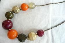 Burnt Orange, Green & Matt Goldtone Gold Necklace – Large Deep Red,