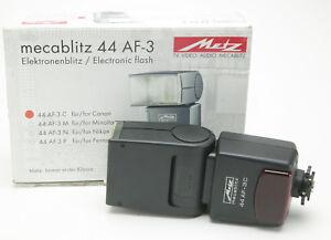Metz Mecablitz Flash 44 AF-3 For Canon Cameras. Ex. Clean. Box. Manual.