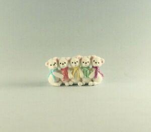 OOAK~Polar Bears~Pastel Scarf~Mini~Baby Toys~Artist Doll~Dollhouse~Cheryl Brown