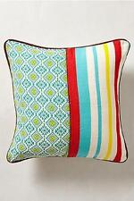 """Anthropologie Decorative Throw Pillow Mercado Geo Stripe Cotton Leather Trim 18"""""""