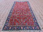 Oushak Unique Red Carpet Turkish Vintage Handmade Oriental Wool Area Rug 4x7 ft