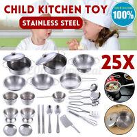 25PCS Enfants Maison de Jeu Jouet Cuisine Set Ustensiles Pot Casseroles