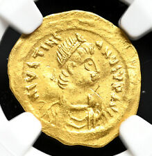 Justinian I, AD 527-565, Gold Tremissis, Victory, NGC Ch VF