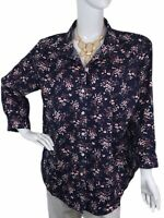LL BEAN sz 2X Floral Navy/Pink Wrinkle Free Buttoned Women's Plus Blouse