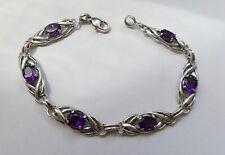 Armband 6 dunkelviollete Steine 925 Silber Vintage 70er bracelet silver