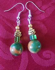 Mashan jade beads earrings, tibetan beads/ orange/green silver plated (245)