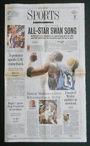 "MICHAEL JORDAN - NBA ""ALL-STAR SWAN SONG"" NOLA TIMES-PICAYUNE Newspaper 2/9/03"