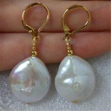 14-15mm White Baroque Coin Pearl Earrings 18K hook women Luxury Engagement