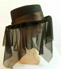 Steam-Punk-Gothic-Whitby-Victorian- HAT, BROWN TAFFETA HAT HAND AND MESH DRAPE