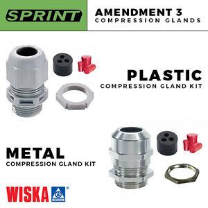 WISKA SPRINT AMENDMENT 3 COMPRESSION GLANDS FOR METRE TAILS PLASTIC / METAL NEW
