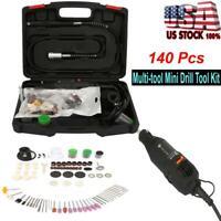 140 Pcs Mini Electric Drill Grinder Rotary Tool Grinding Drilling Polishing Set