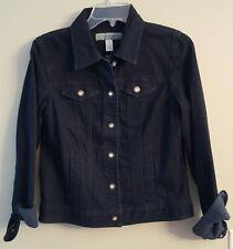 NWT CHICO'S Denim Jacket Sz 0 (Same as Women's Sz 4-6) Dark Wash