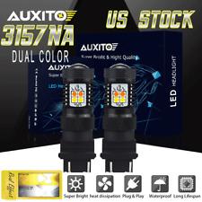2x 3157 4157 16 SMD White Amber Switchback LED Turn Signal Light for SCK car