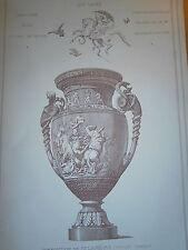 Croquis d'architecture 19° grande taille Un  vase prix de Sévres  galerie Louvre