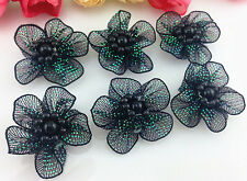 DIY 10-100 pcs Satin Ribbon Flower with pearl Wedding Appliques/Crafts