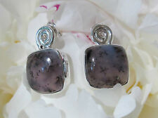 Studs Sterling Silver 925 Moss Agate Dendrite Stone of the Capricorn Spirale