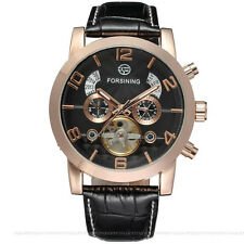 Forsining Auto Mechanical Flying Tourbillon Men's Watch with Leather Strap