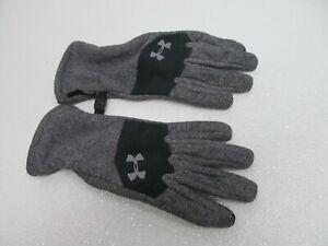 Under Armour Survivor Gray Black Fleece Youth Cold Weather Gloves Size M
