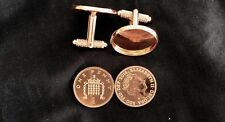VERY RARE 2018 UN CIRCULATED ONE PENNY COINS SET IN ROSE GOLD CUFF LINKS       A