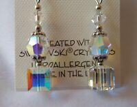 HYPOALLERGENIC Dangle Earrings  Swarovski Elements Crystal in Aurora Borealis AB
