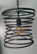 CURREY & COMPANY Industrial Spiral Metal Cage Hanging Pendant Light NEBULA 9867