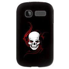 Coque noire pour Alcatel One Touch POP C1 impression motif tête de mort sur