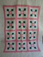 Vintage Pink Flower Applique Quilt, 75 X 92, NEW UNUSED CUSTOM QUILTED EXCELLENT