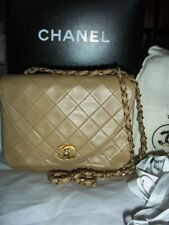 Authentic Vintage CHANEL Flap Bag Turn-lock Quilted Beige Leather Chain Sac Box