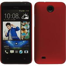 Hardcase HTC Desire 300 rubberized red Cover + protective foils