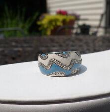 Sterling Silver Blue & White Enamel White Diamond Wave Ring  ?Affinity Diamond?
