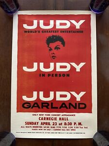 Judy Garland 1961 Concert Poster Carnegie Hall