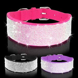 Bling Rhinestone Suede Dog Collar Diamante Pet Necklace for Medium Large Dogs