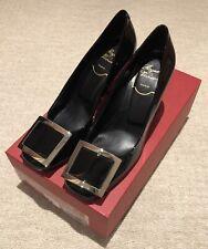 BNIB Roger Vivier Classic Leather T85 Square Buckle Court Heels Black 36