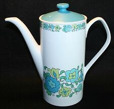 Johnson Brothers Bros Blue Green Flowers Retro Groovy MCM Tall Teapot 9.5""