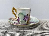 Antique Porcelain Cup & Saucer w/ Painted Blackberries Decoration