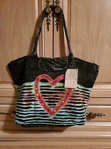 Distressed Vintage Heart 100% Cotton Handbag! Great Colors!  Timeless!