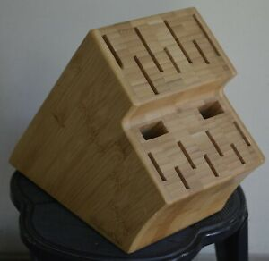 The Pampered Chef Knife Block Organizer Bamboo Wooden Large 16 Slot