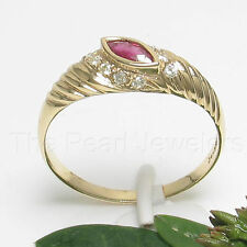 14k Yellow Solid Gold Genuine Natural Red Marquise Ruby Diamonds Ring TPJ