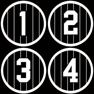 New York Yankees Retired Number Vinyl Decal Yankees Decor Derek Jeter Babe Ruth