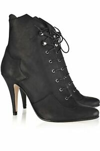 SURFACE TO AIR black lace-up pointed toe ankle boots heels western gothic 39 6